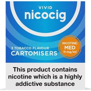 Nicocig Refills Medium Strength 11mg Tobacco Flavour Pack of 3