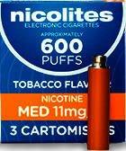 Nicolites Refills Medium Strength Tobacco Flavour Pack of 3