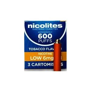Nicolites Refills Low Strength Tobacco Flavour Pack of 3