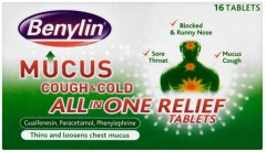 Benylin Mucus Cough & Cold All In One Relief Tablets Pack of 16