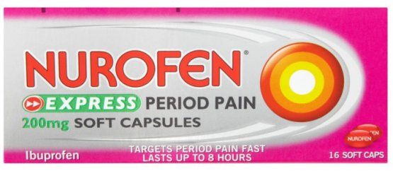 Nurofen Express Period Pain Capsules 200mg Pack of 16