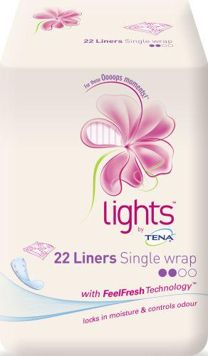 TENA Lights Liner Individually Wrapped Pack of 22