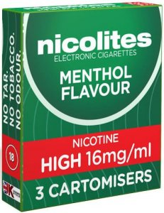 Nicolites Refills High Strength Menthol Flavour Pack of 3