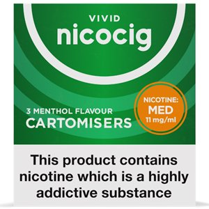 Nicocig Refills Medium Strength 11mg Menthol Flavour Pack of 3