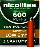 Nicolites Refills Low Strength Menthol Flavour Pack of 3