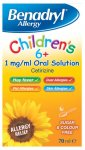 Benadryl Allergy Relief 1mg Solution Childrens 6+ 70ml