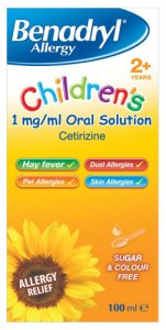 Benadryl Allergy Relief 1mg Solution Childrens 100ml