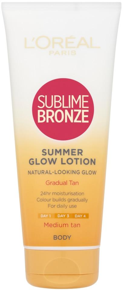L'Oreal Sublime Bronze Summer Glow Lotion Gradual Tan Medium 200ml