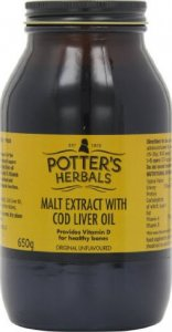 Potters Malt Extract Cod Liver Oil Unflavoured 650g