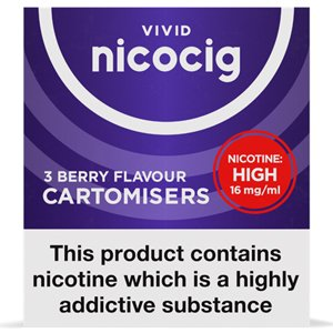 Nicocig Refills High Strength 16mg Berry Flavour Pack of 3