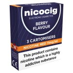 Nicocig Refills Medium Strength 11mg Berry Flavour Pack of 3