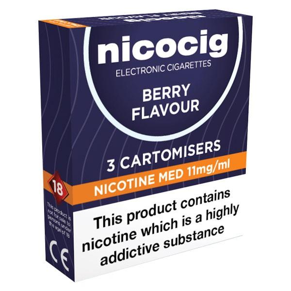 Nicocig Refills Medium Strength Berry Flavour Pack of 3