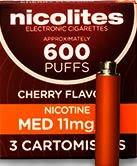 Nicolites Refills Medium Strength Cherry Flavour Pack of 3