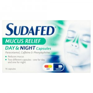 Sudafed Mucus Relief Day & Night Capsules Pack of 16