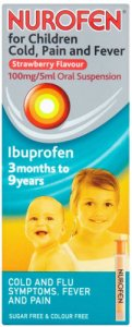 Nurofen for Children Cold, Pain & Fever Strawberry 100ml