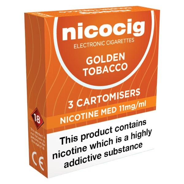Nicocig Refills Medium Strength Golden Tobacco Flavour Pack of 3