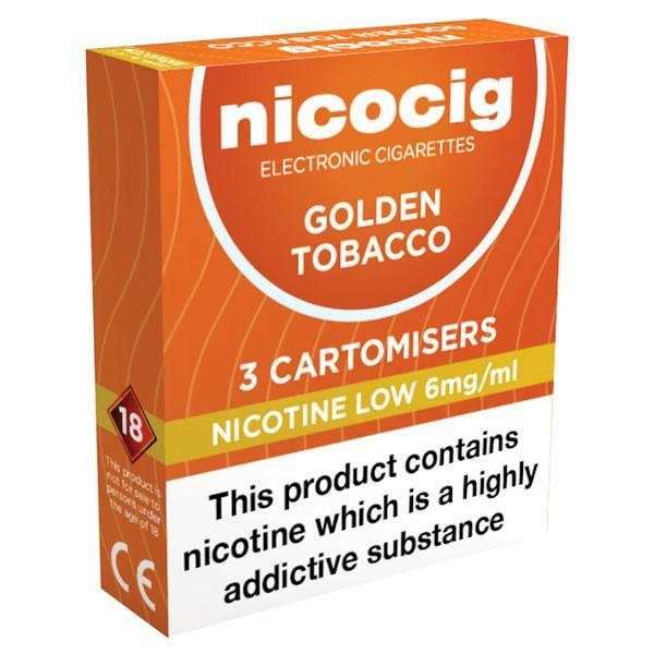 Nicocig Refills Low Strength Golden Tobacco Flavour Pack of 3 (30 Pack)