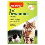 Bob Martin 2 in 1 Dewormer for Cats & Kittens Tablets Pack of 2