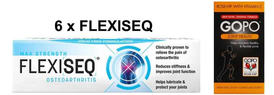 Flexiseq Gel 50g Pack of 6 & Gopo Joint Health Capsules Pack of 120