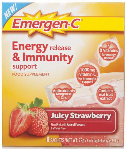 Emergen-C Energy & Immunity Strawberry Sachets Pack of 8