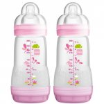 MAM Anti-Colic Pink Bottle 0+ Months 260ml Pack of 2