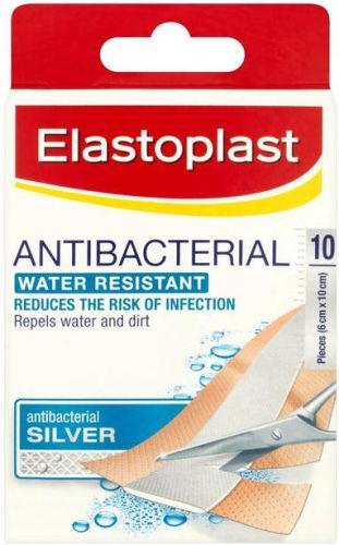 Elastoplast Antibacterial Water Resistant Strips 6cm x 10cm Pack Of 10