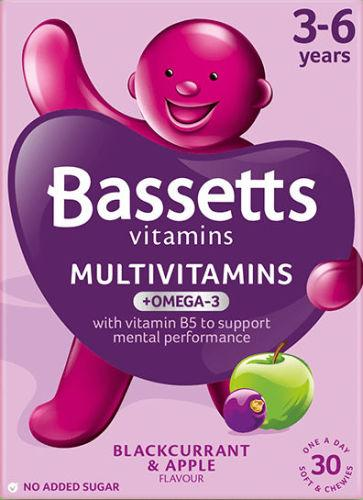 Bassetts Multivitamins B/currant & Apple Flavour 3-6 years Pack of 30