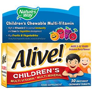 Alive! Children's Multivitamin Chewable Tablets Pack of 30
