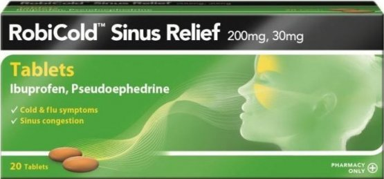 RobiCold Sinus Relief 200mg Tablets Pack of 20