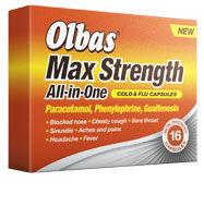 Olbas Max Strength All-in-One Cold & Flu Capsules Pack of 16