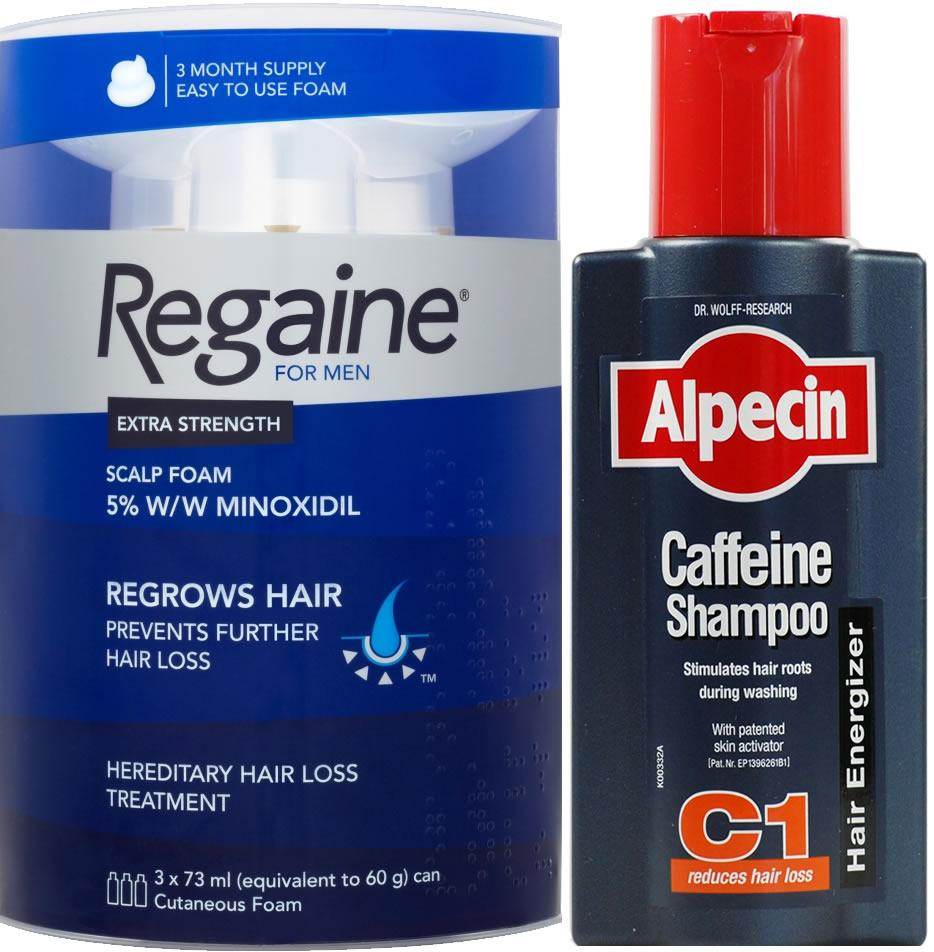 Regaine Men Foam Triple Pack & Alpecin Caffeine Shampoo C1 250ml