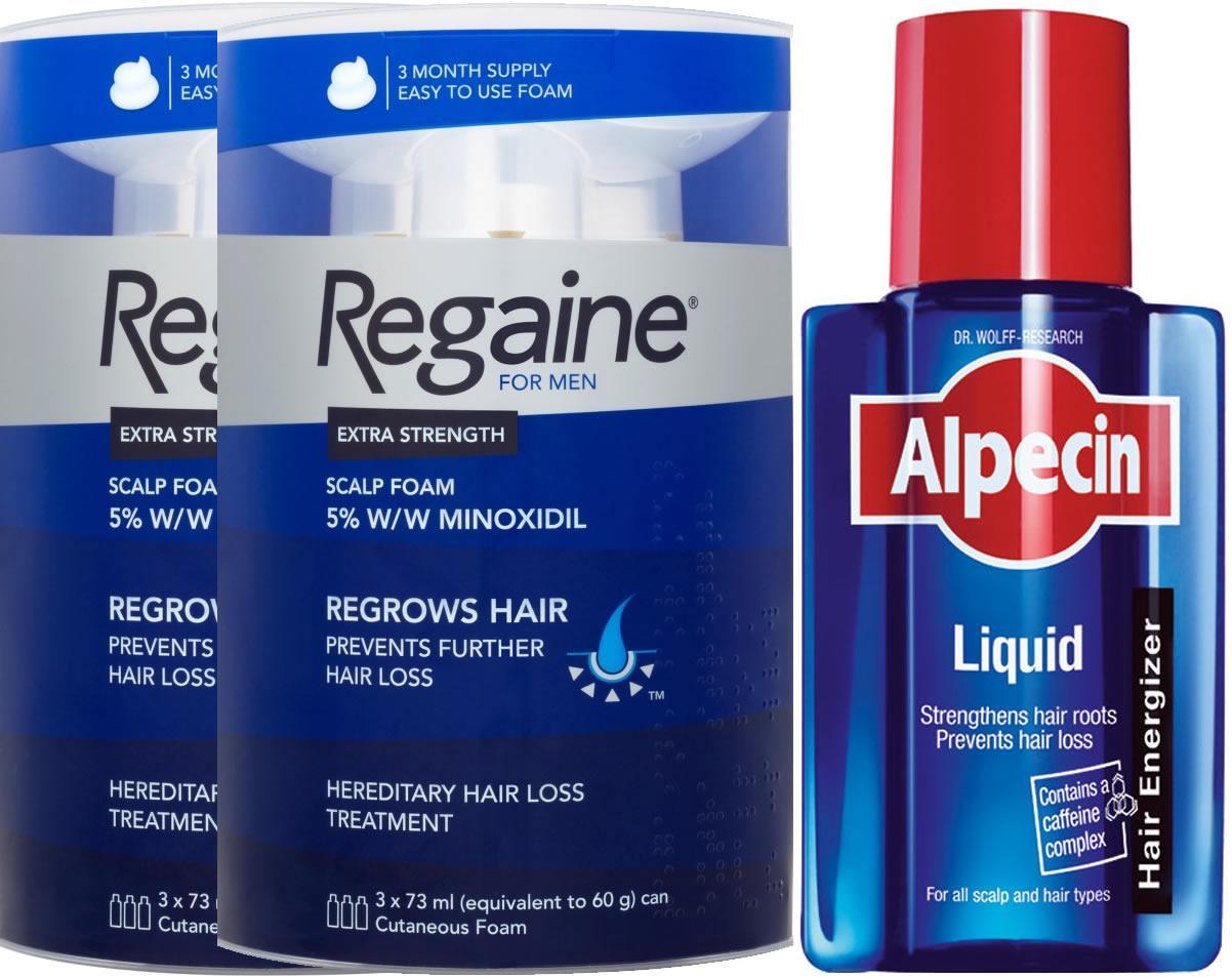 Regaine Men Foam Triple Pack x 2 & Alpecin Liquid 200ml