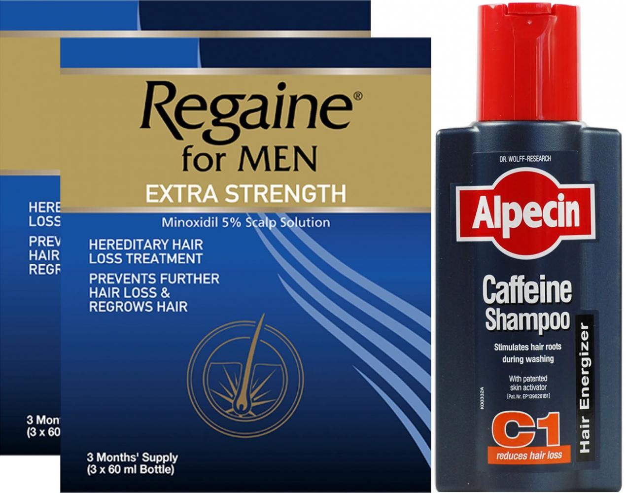Regaine Men Lotion Triple Pack X 2 & Alpecin Caffeine Shampoo C1 250ml
