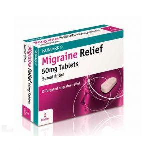 Numark Migraine Relief 50mg Sumatriptan Tablets Pack of 2