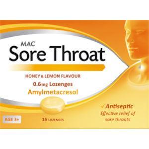 MAC Sore Throat Honey & Lemon Flavour Lozenges Pack of 16