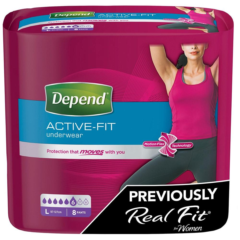 Depend Active Fit Incontinence Underwear for Women Large Pack of 8