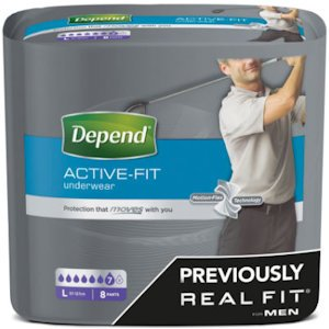 Depend Active Fit Incontinence Underwear for Men Large Pack of 8