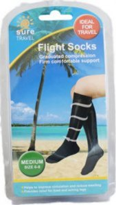 Sure Travel Flight Socks Black Medium Size 6 - 8