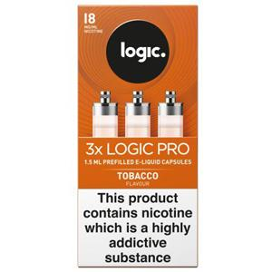 Logic Pro E-Liquid Capsules 18mg Tobacco Flavour Pack of 3