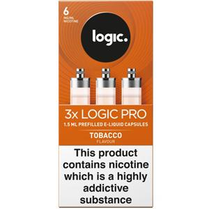 Logic Pro E-Liquid Capsules 6mg Tobacco Flavour Pack of 3