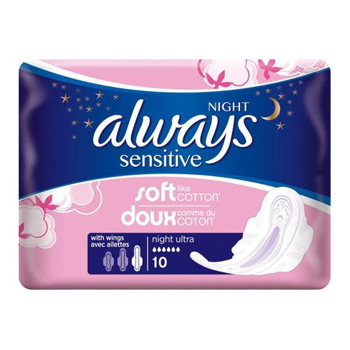 Always Sensitive Night Ultra with Wings Pack of 10