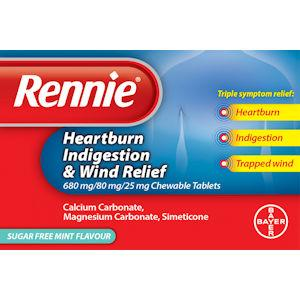 Rennie Heartburn, Indigestion & Wind Relief Tablets Pack of 12