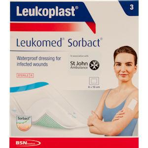 Leukoplast Leukomed Sorbact Wound Dressing 8cm x 10cm Pack of 3