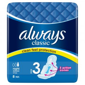 Always Classic Night Size 3 Pads Pack of 8
