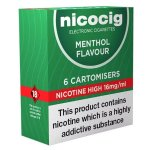 Nicocig Refills High Strength 16mg Menthol Flavour Pack of 6 (5 Packs)