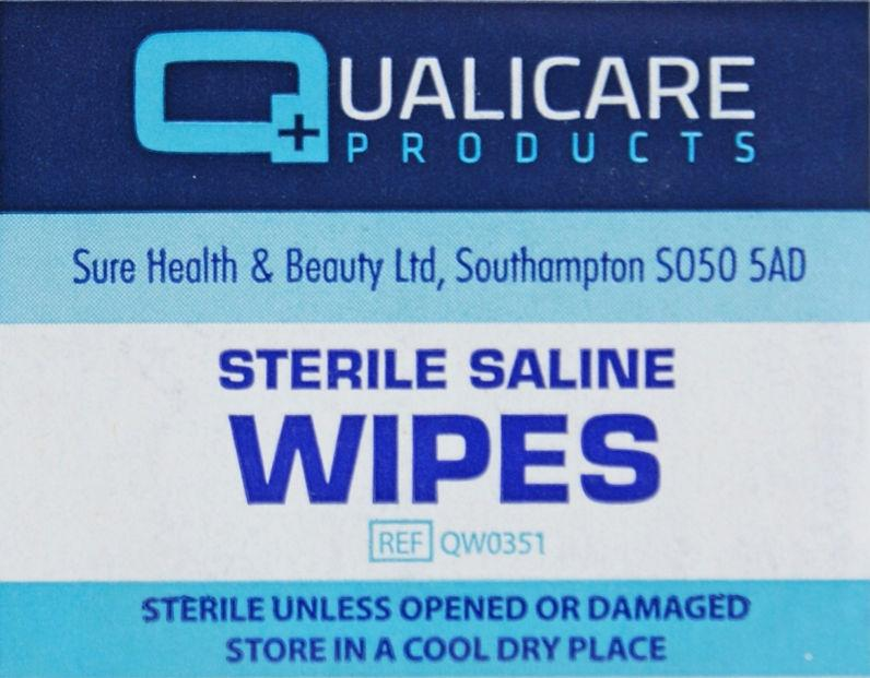 Qualicare Sterile Saline Wipes Pack of 100