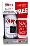 NAF Love The Skin He's In Skin Wash 1lt & Deep Cleansing Towel